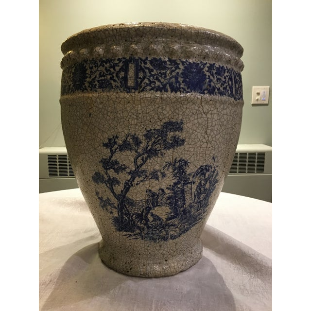 Planter With Blue Pastoral Scene - Image 4 of 10