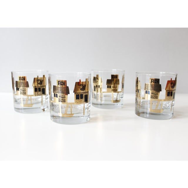Black & Gold Couroc Mid-Century Fish Glasses - Set of 4 - Image 2 of 5