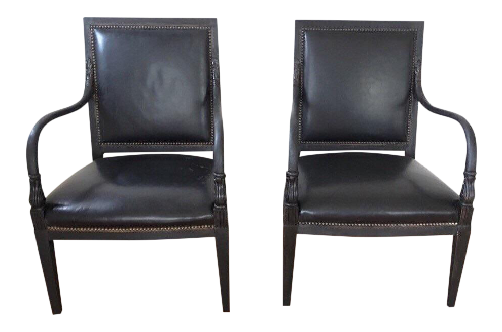 William Switzer Black Leather Arm Chairs   Pair