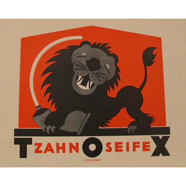 Image of German Art Deco Lion Toothpaste Poster