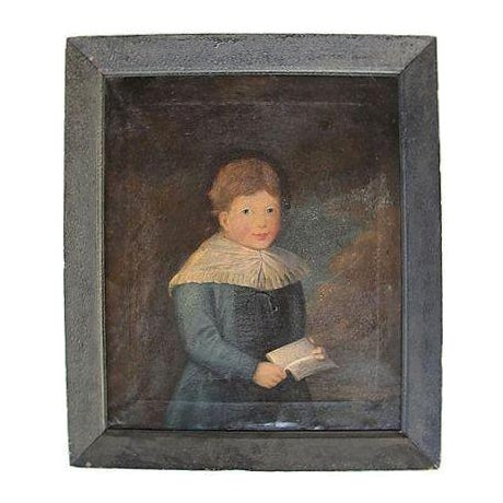 Antique 1827 Folk Art Portrait Painting of a Boy in Blue - Image 1 of 7