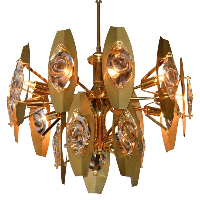 Image of Brutalist Sonneman Brass and Cut Glass Chandelier