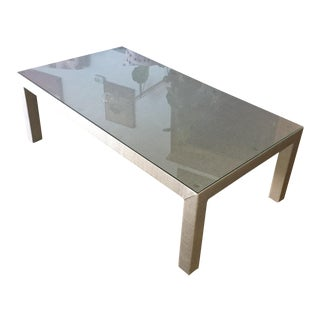 Grass Cloth Upholstered Coffee Table