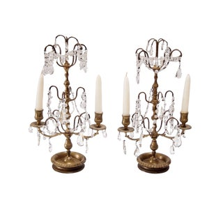 French Bronze & Crystal Two Light Candelabra - A Pair