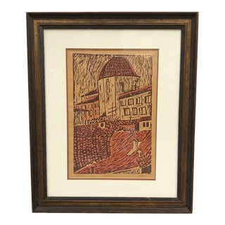 1974 Wood Block Print - City Scape Of Volterra, Tuscany - Signed LM Follis