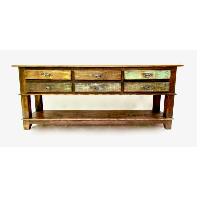 Reclaimed Wood Console Table With Drawer ~ Vintage antique rustic six drawer console table eco