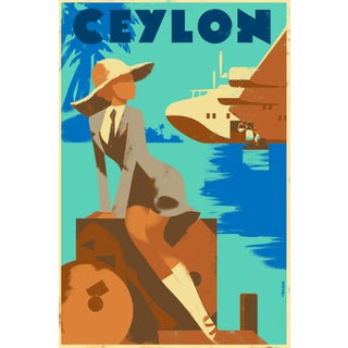 Retro Ceylon Travel Poster, Woman W/ Valise