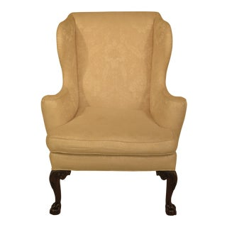 Kittinger Cw-104 White Upholstered Claw Foot Wing Chair