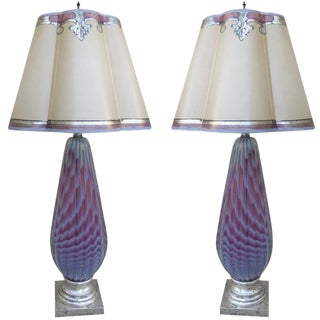 Murano Lamps With Parchment Shades - A Pair