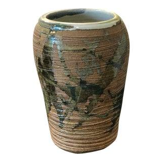 Mid-Century Japanese Stoneware Vase, Signed