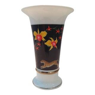 """1988 Lynn Chase """"Jaquar Jungle"""" Porcelain 24-Karat Gold Hand-Painted Vase"""