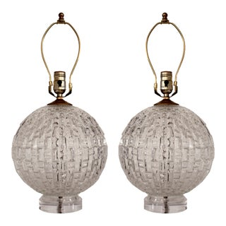 Vintage Faceted Glass Lamps w/Lucite Base - A Pair