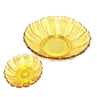 Blenko Sunflower Yellow Glass Bowl & Candle Holder