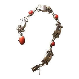 Georg Jensen Sterling Silver Bracelet No. 11 with Coral