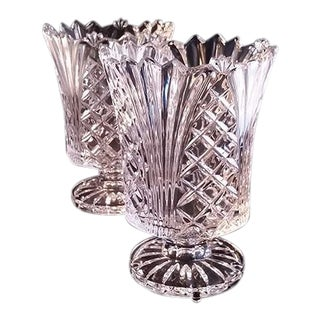 Lead Clear Crystal Vases - A Pair