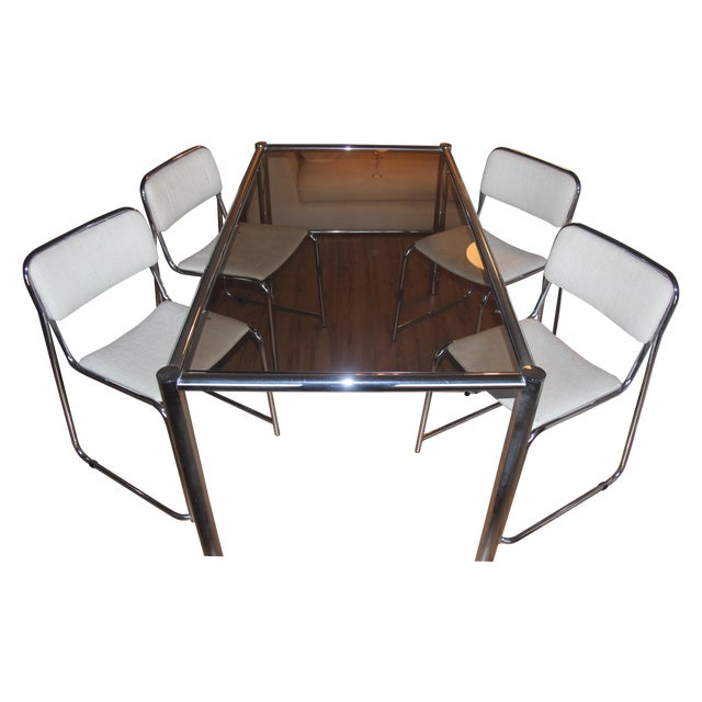 Image of Milo Baughman Dining Set with Breuer Style Chairs