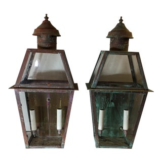 Architectural Hanging Copper Lanterns - A Pair