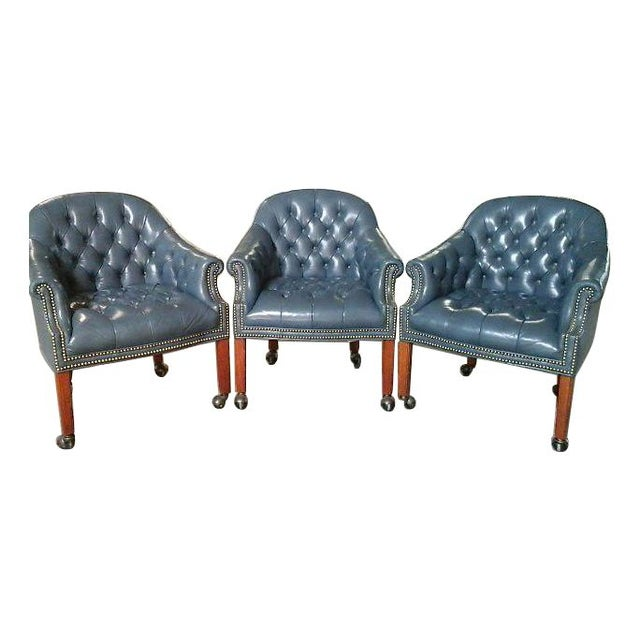 vintage alex stuart design tufted leather chairs chairish