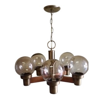 Brass, Oak & Smoked Glass Globe Chandelier