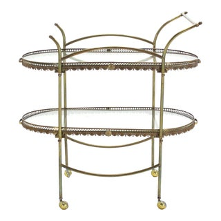 Two-Tier Brass Serving Cart Table with Removable Trays