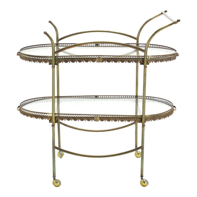 Two-Tier Brass Serving Cart Table with Removable Trays - Image 1 of 10