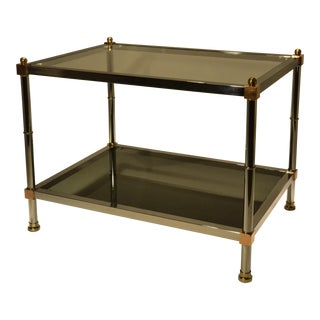 Pair of Hollywood Regency Maison Jansen Steel, Brass and Copper End Tables