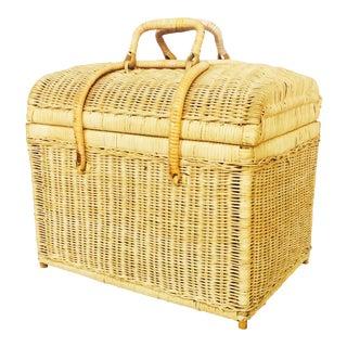Vintage Rattan Picnic Basket
