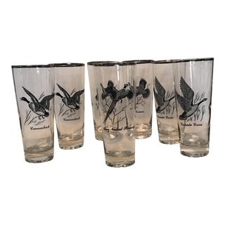 Vintage Game Bird Tall Cocktail Glasses - Set of 7