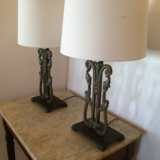 Rustic Vintage Iron Lamps - A Pair - Image 4 of 6