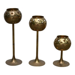 Brass Votive Candle Holders - Set of 3