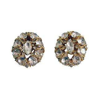 1960s Hattie Carnegie Large Rhinestone Earrings