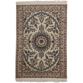 RugsinDallas Wool & Silk Persian Nain Rug - 3′3″ × 4′9″