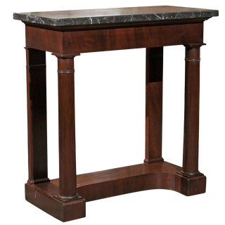 French Mid-19th Century Console Table with Grey Marble Top and Doric Columns
