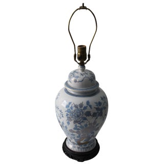 Blue & White Porcelain Chinoiserie Urn Lamp