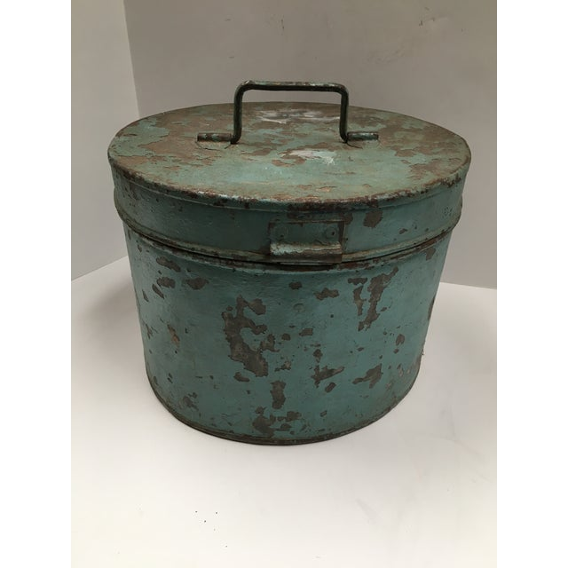 Vintage Painted Metal Oval Hat Box - Image 5 of 8