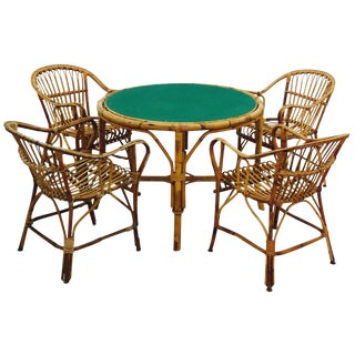 Vintage Rattan Game Table & Chair Set