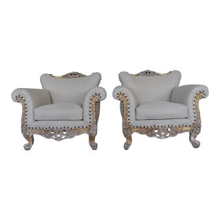 Pair of French Louis XV Style Giltwood Armchairs