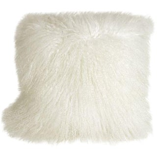 Mongolian Sheepskin Snow White 18x18 Pillow