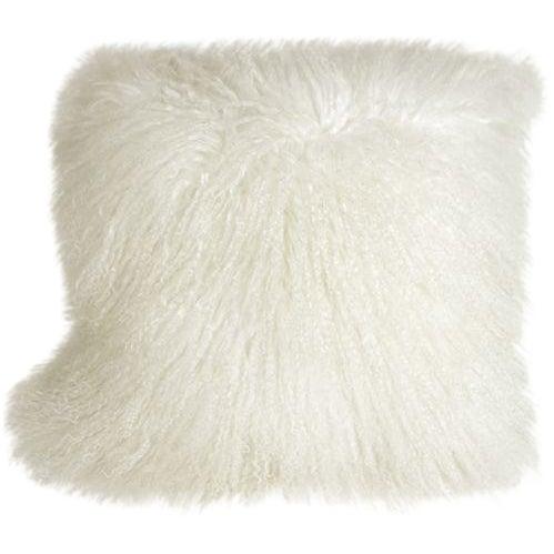 Mongolian Sheepskin Snow White 18x18 Pillow - Image 1 of 2