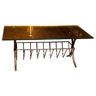 Jansen Faux-Bamboo & Gilt Glass Coffee Table