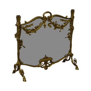 French Louis XV Style Bronze Fireplace Screen
