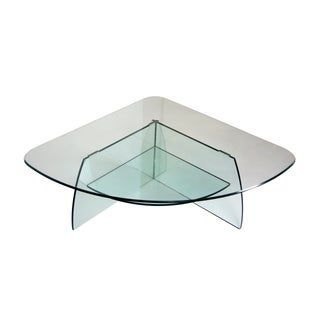 Mid-Century Corner Glass Coffee Table With Shelf