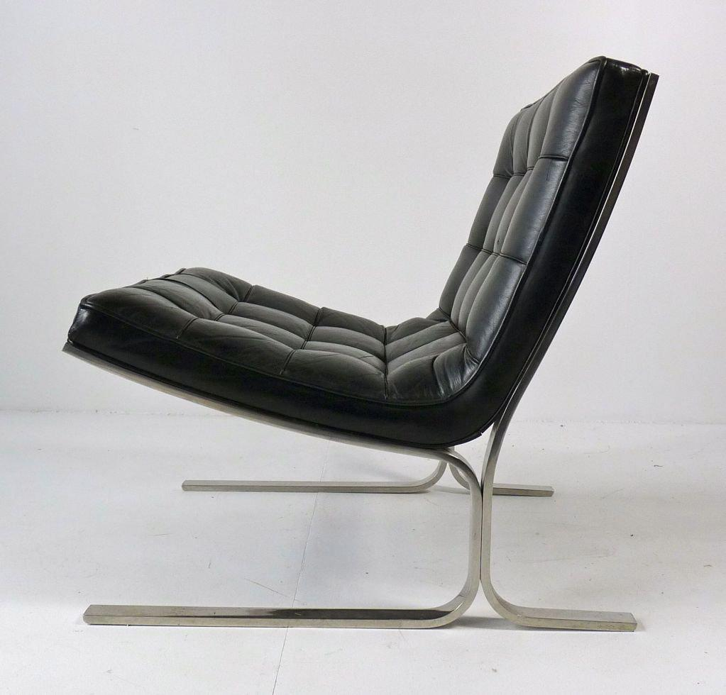 Nicos Zographos Black Leather Lounge Chair - Image 2 of 6 : leather lounge chaise - Sectionals, Sofas & Couches