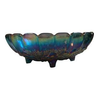 "Indiana Glass ""Harvest Grape"" Blue Carnival Glass Center Bowl"