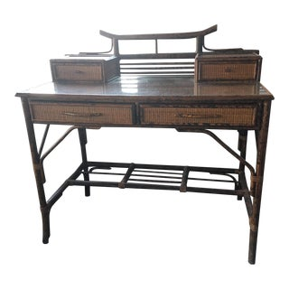 Antique Bamboo & Glass Desk