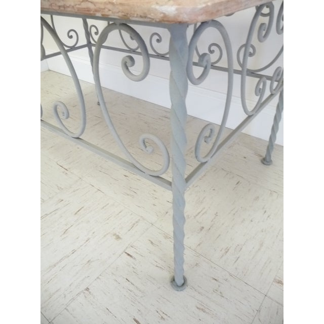 Vintage French Iron & Marble Top Coffee Table - Image 6 of 9