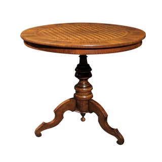 Italian Mid 19th Century Round Pedestal Side Table with Cube Parquetry Inlay