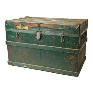 Vintage Industrial Green Wood Steamer Trunk