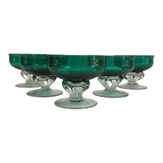 Vintage Emerald Hand-Blown Champagne Coupes - Set of 5