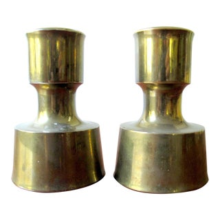 Vintage Dansk Solid Brass Brutalist Candlestick Candle Holders-2